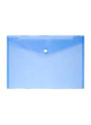 Button Closure File Holder Cover, A4 Size, Blue