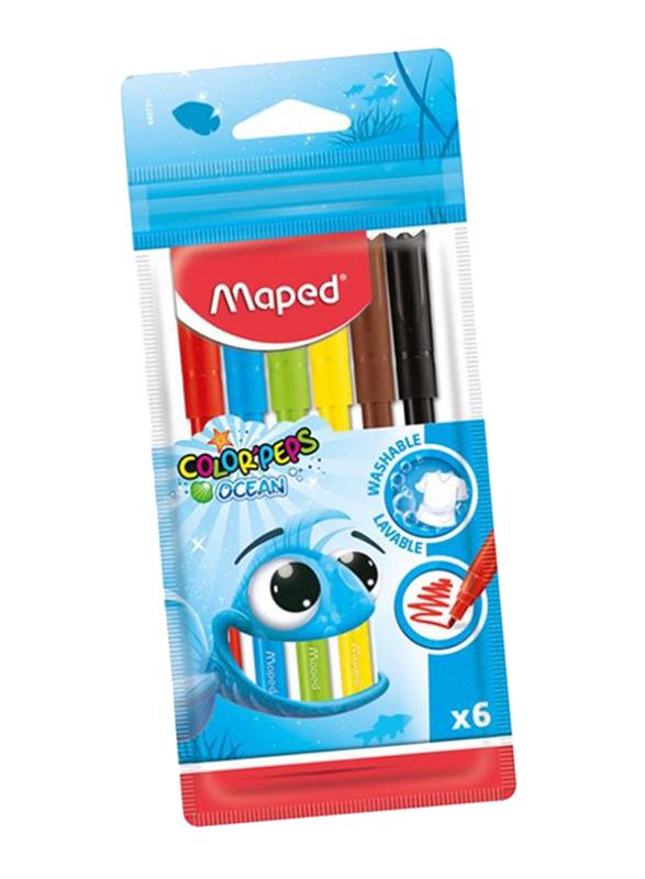 Maped 6-Piece Color Peps Ocean Felt Tip Color Pen Set, Multicolor