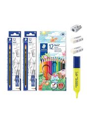 Staedtler 40-Piece Noris Pencil and School Stationery Set, Multicolor