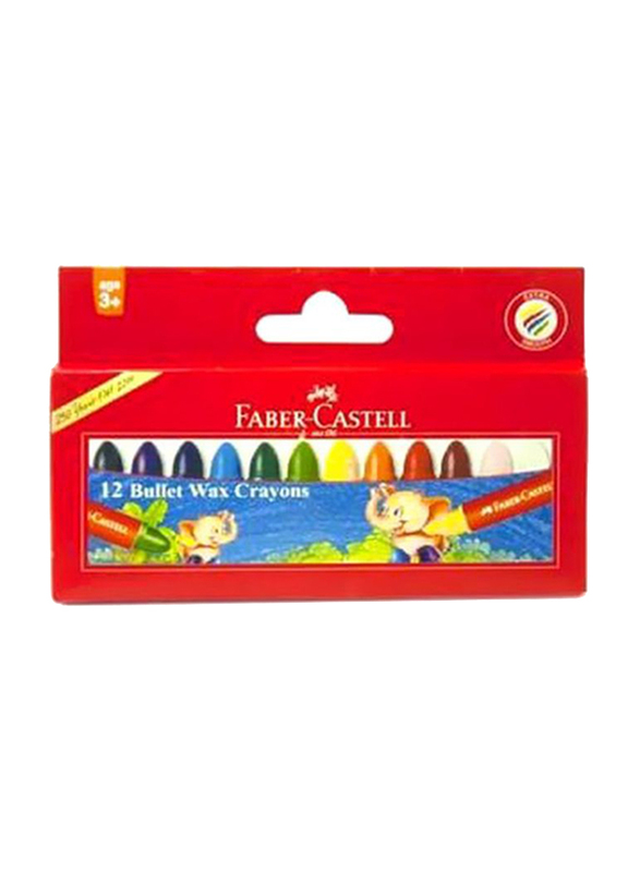 Faber-Castell Bullet Jumbo Wax Crayons, 12 Pieces, Multicolor