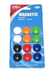 Deli Magnetic Button Set, 12 Pieces, Multicolor