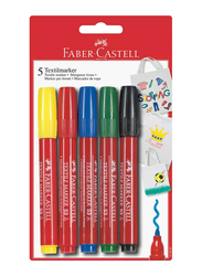 Faber-Castell 5-Piece Textile Color Marker Set, Multicolor