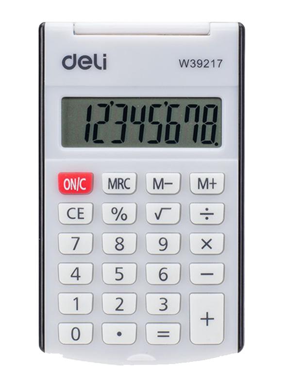 Deli Pocket Calculator with Cover, White