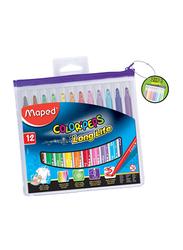 Maped 12-Piece Color Peps Felt Tip Zip Case Color Pen Set, Multicolor