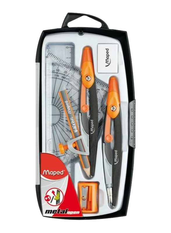 Maped 9-Piece Metal Open Compass, Black/Yellow
