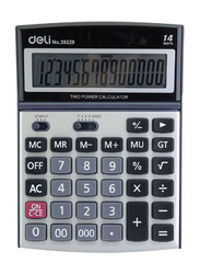 Deli 14-Digit Desk Basic Calculator, Silver/Black