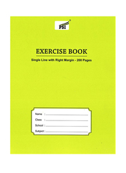 PSI Single Line Right Margin Notebook, 200 Pages, A5 Size, Yellow
