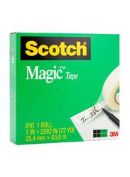3M Scotch 810 Magic Tape, 25.4mm x 65.8m, Clear