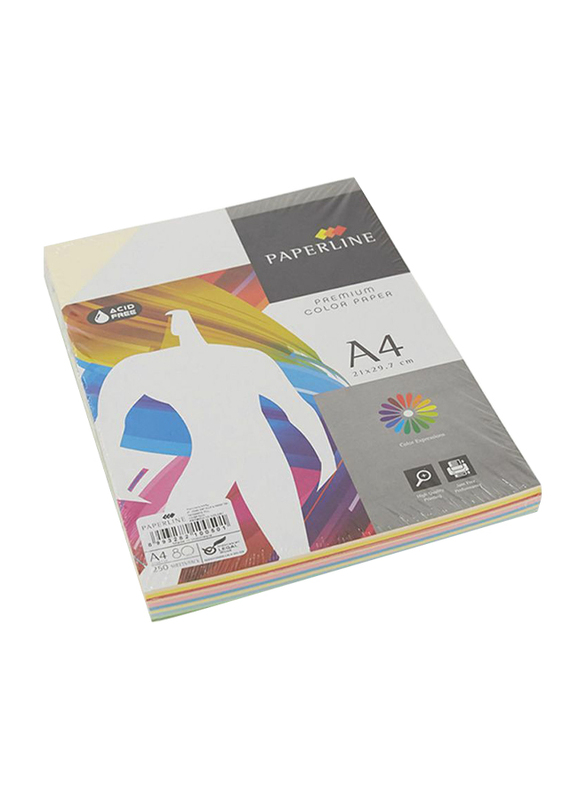 Paperline Premium Rainbow 80GSM Printer Paper, 21 x 29.7cm, 250 Sheets, A4 Size, Multicolor