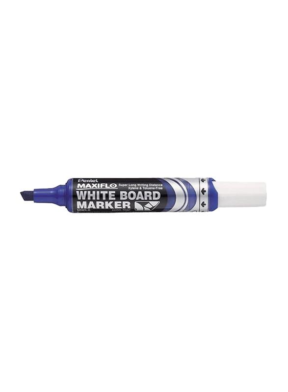 Pentel 12-Piece Maxiflo Chisel Tip White Board Marker Set, Blue