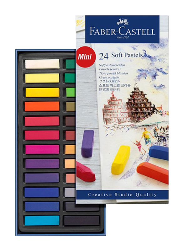 Faber-Castell Mini Soft Pastel Crayons, 24 Pieces, 128224, Multicolor