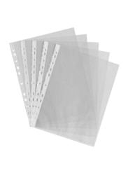 Hello Partner A4 Punch Pocket Folder, 100-Piece, Clear