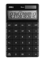 Deli 12-Digit Modern Basic Calculator, Digit Black