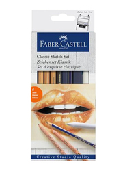 Faber-Castell 6-Piece Classic Sketch Set, Gold/Blue/Grey