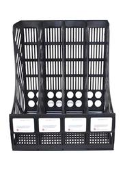 Quadruplicate Divider Desktop Magazine Holder Black/White