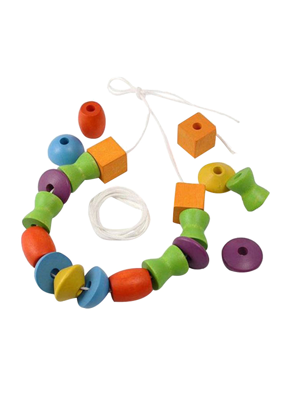 Plan Toys Wooden Lacing Beads, 30 Pieces, Ages 3+