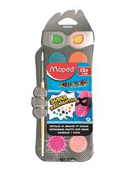 Maped Color' Peps Water Colour Paint Palette with Brush, 2 Pieces, Multicolour