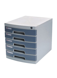 Deli 5-Layer File Cabinet with Front Key Lock, Grey