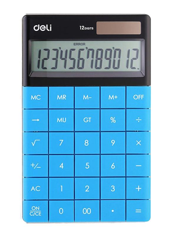 Deli 12 Digits Basic Calculator, Blue