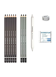 Staedtler 12-Piece Mars Lumograph Charcoal Pencil Set, Black