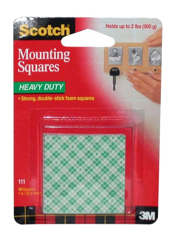 3M Scotch Mounting Squares Tape Set, 16 Pieces, Green/White