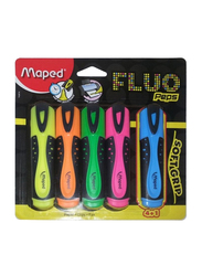 Maped 5-Piece Fluo Peps Soft Grip Highlighter Pen Set, Multicolor