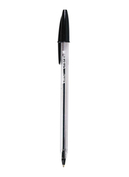 Bic Cristal Medium Tip Ballpoint Pen, 1mm, Clear/Black