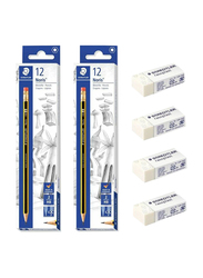 Staedtler 28-Piece Noris Pencil and Eraser Set, White/Yellow/Black