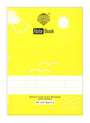 Horizon Single Lined Exercise Book, 100 Sheets, A4 Size, Yellow