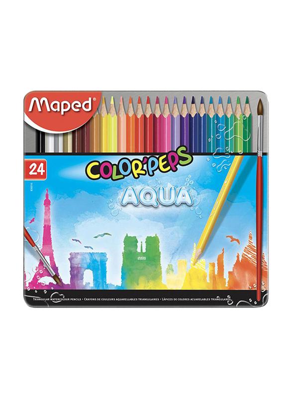 Maped 24-Piece Color Peps Metal Box Aqua Watercolor Pencil Set, Multicolor