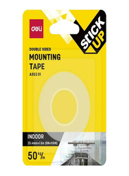 Deli Double Sided Mounting Tape, 25.4mm x 5m, Clear