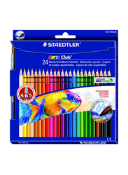 Staedtler 24-Piece Noris Club Water Color Pencil and Brush Set, Yellow/Red/Blue