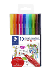 Staedtler 10-Piece Triplus Fineliner Extra Broad Set, Multicolor