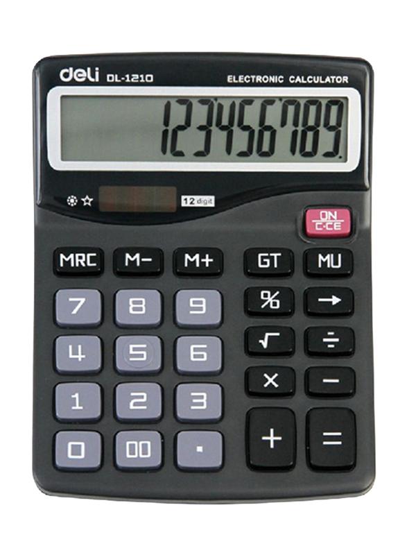 Deli 12-Digit Dual Power Basic Calculator, Black