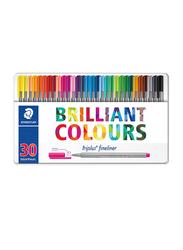 Staedtler 30-Piece Triplus Fineliner Colour Pen Set, Multicolour