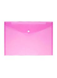 A4 Clear Document Bag Set, 12 Pieces, Pink