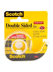 3M Scotch Permanent Double Sided Tape Dispenser Rolls, Clear