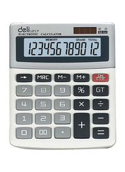 Deli 12-Digit Basic Calculator, 1217, White/Black