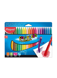 Maped Color'Peps Wax Plastic Crayon Set, 24 Pieces, Multicolour