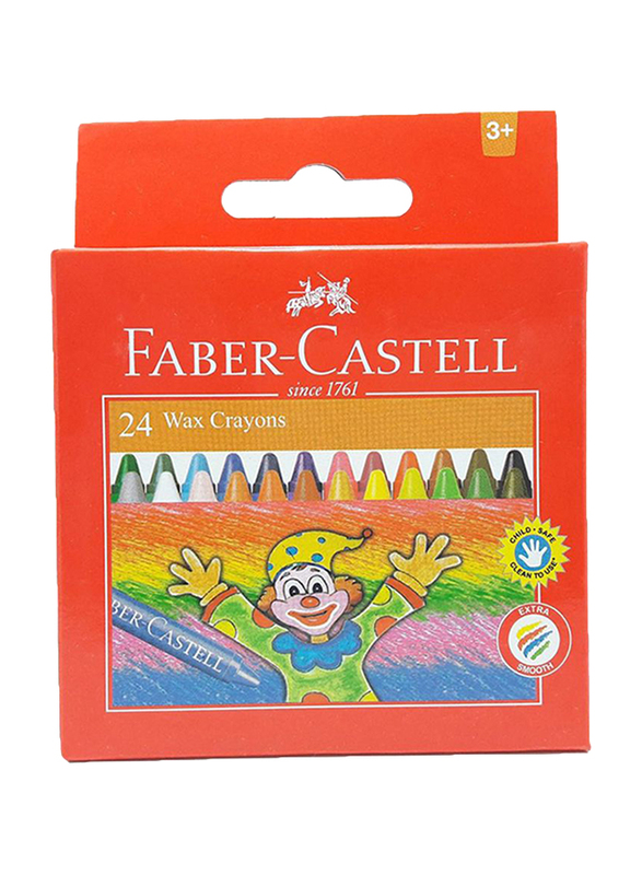 Faber-Castell Wax Crayons Set, 24 Pieces, 120057, Multicolor
