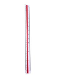 Triangular Plastic Ruler, 30cm, White/Red