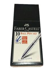 Faber-Castell 10-Piece 1423 Ballpoint Pen Set, 1.0 mm, Blue
