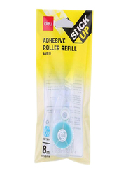Deli Adhesive Roller Refill, 8 Meter, Clear