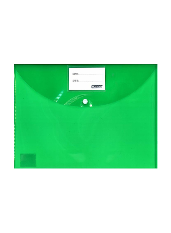 Partner Envelope Folder with Button Closure, Green