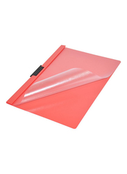 Durable A4 Size Duraclip File, 25-Piece, Red/Clear