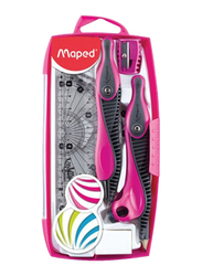 Maped 9-Piece Mathematical Drawing Instrument Set, Pink/Black