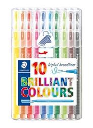 Staedtler 10-Piece Triplus Broadliner Marker Set, Multicolour
