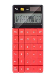 Deli 12-Digit Modern Basic Calculator, Red/Black/Silver