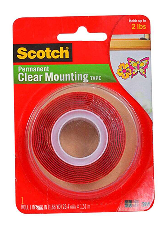 Scotch Permanent Mounting Tape, Red