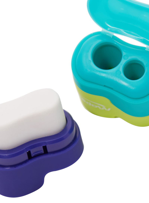 Maped Connect Sharpener with Eraser, Green/Yellow/Blue